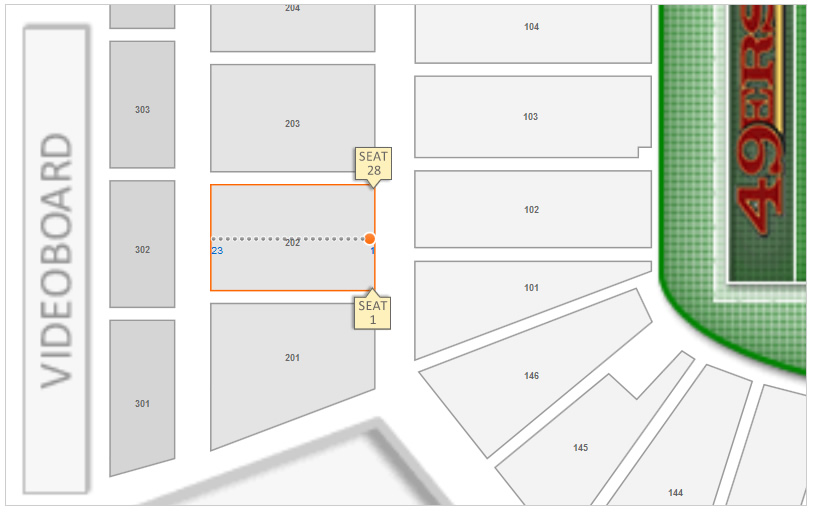 Section 202 Row 1 Seating Layout