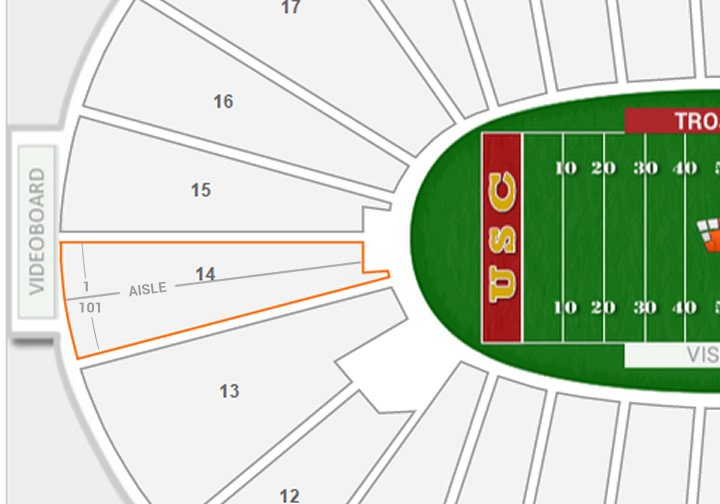 Seat Numbering In Section 14 At The La Coliseum