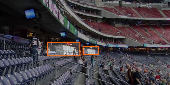 Handicap accessible seating on the lower seating tier at NRG Stadium