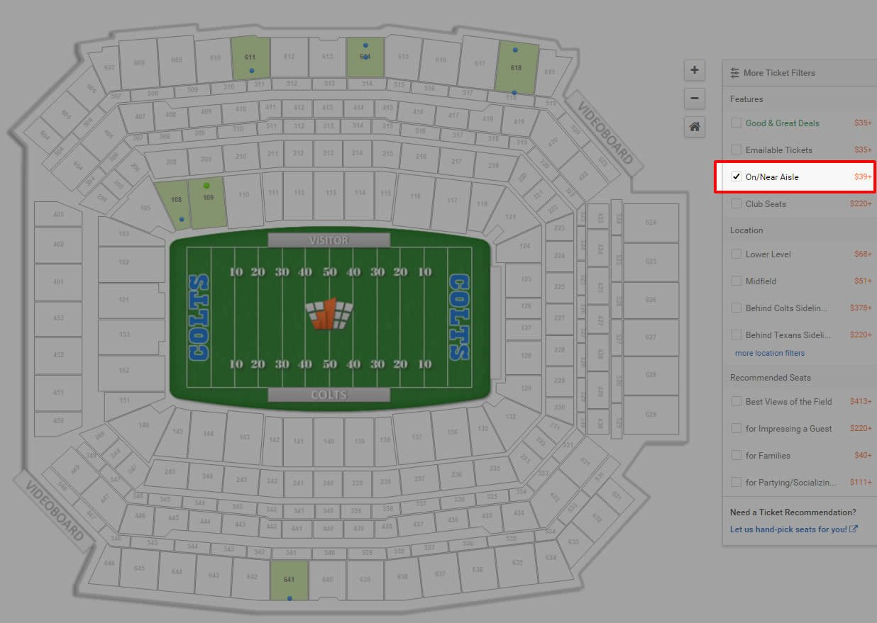 Aisle Seat Ticket Filter At Lucas Oil Stadium