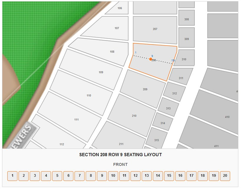 Section 208 Row 9 Seating Layout