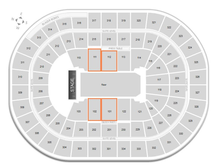 what are the best seats for a concert at moda center