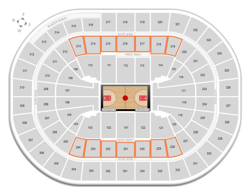 Club Seating Locations at Moda Center for Trailblazers Games