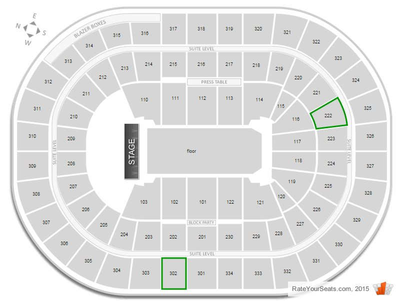 I Have Concert Tickets In Section 302 And 222 Which Is The Better At Moda Center