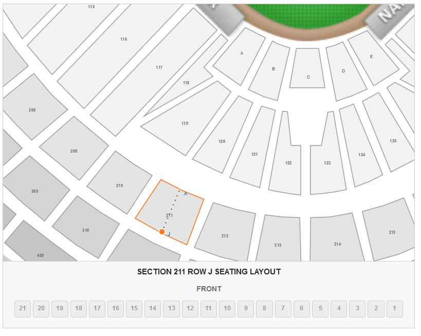 How Many Seats Are In Row J Of Section 211 At Nationals Park