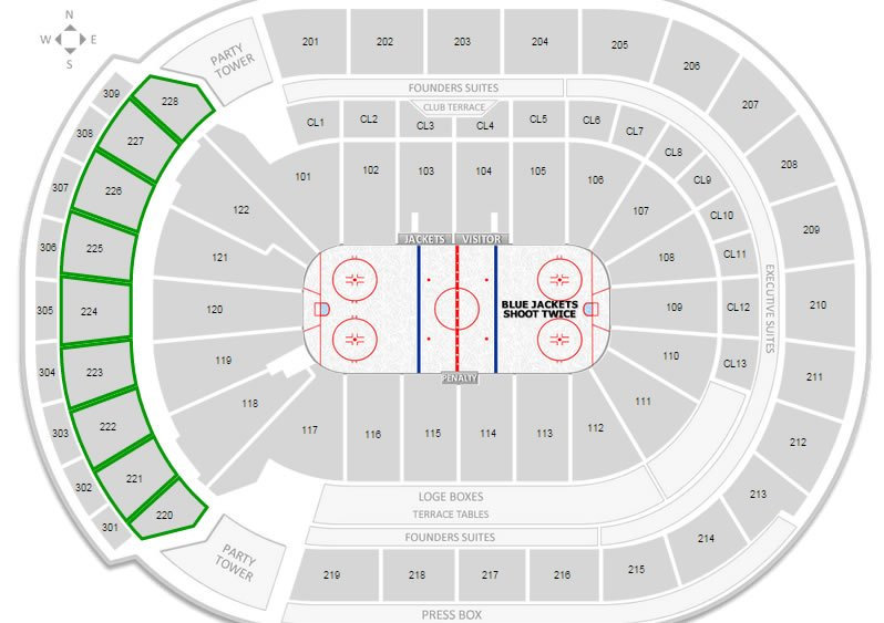 Columbus blue jackets nationwide arena seating chart