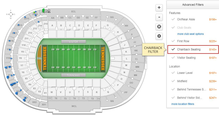 Neyland Stadium Interactive Seating Chart After Selecting The Filter Map Will Update To Only Show Tickets Which Have Chairback