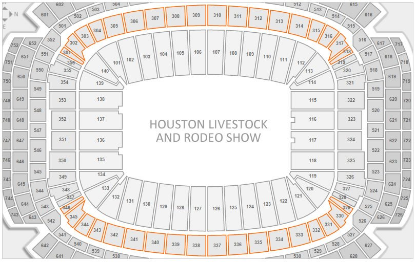 Club seating for the Houston Livestock and Rodeo Show at NRG Stadium