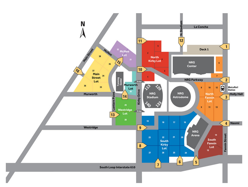 NRG Stadium parking map with section numbers