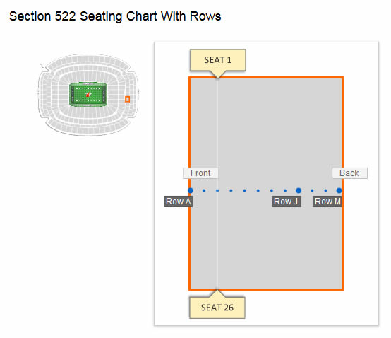 NRG Stadium Section 522 Row C Seating Layout