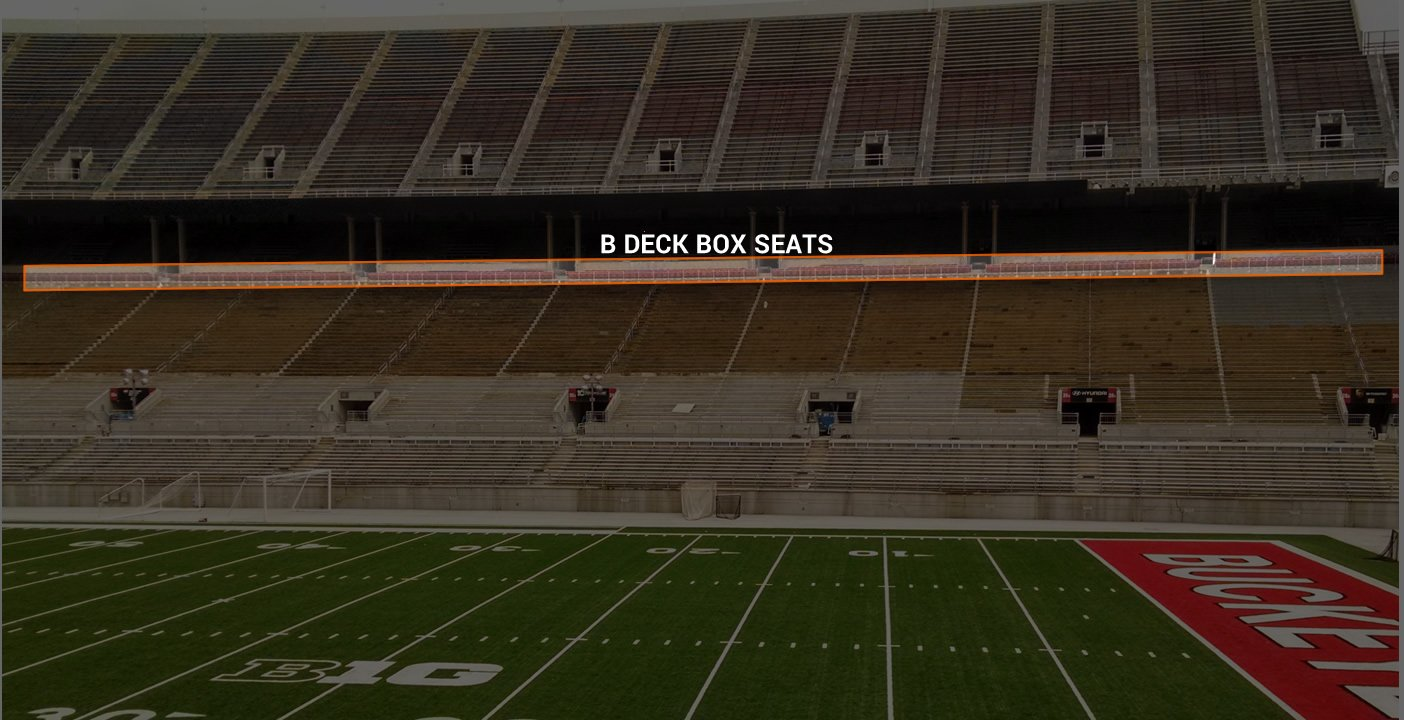 B Deck Box Seating Location at Ohio Stadium
