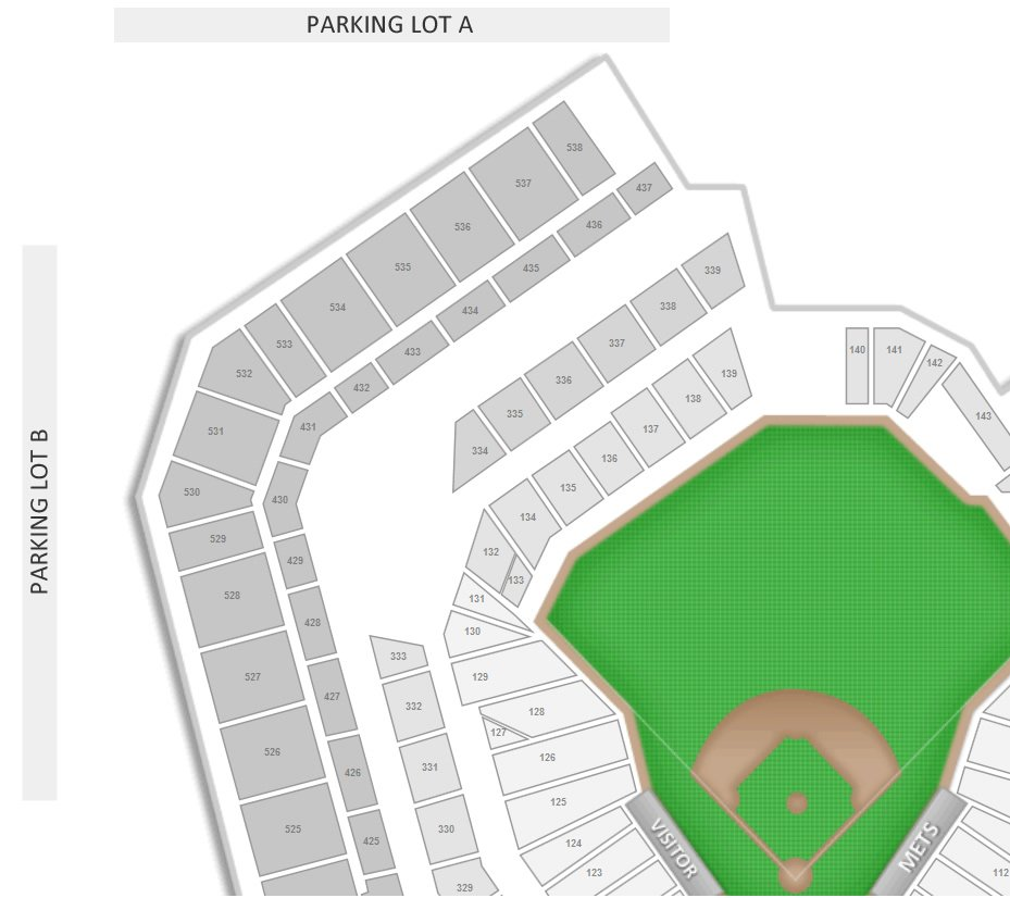 Parking Lot A and Lot B Location at Citi Field