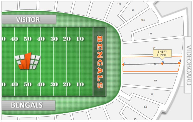 Seating Row Layout in Section 154 at Paul Brown Stadium