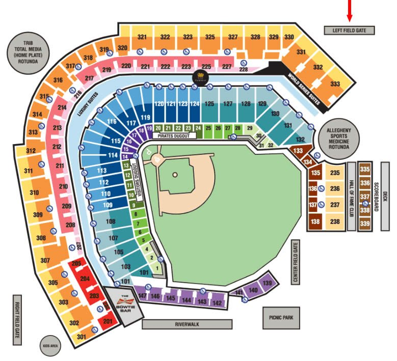 Pittsburgh pirates pnc park seating chart interactive map