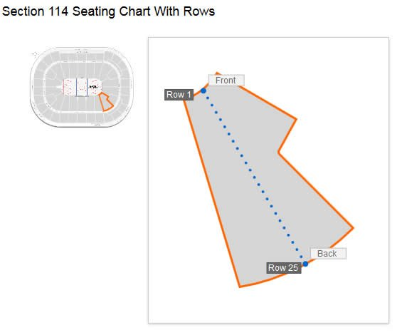 Section 114 Seating Row Layout at Rogers Arena