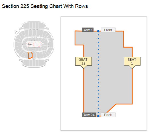 Seating layout in Section 225 Row 11 at Scotiabank Saddledome