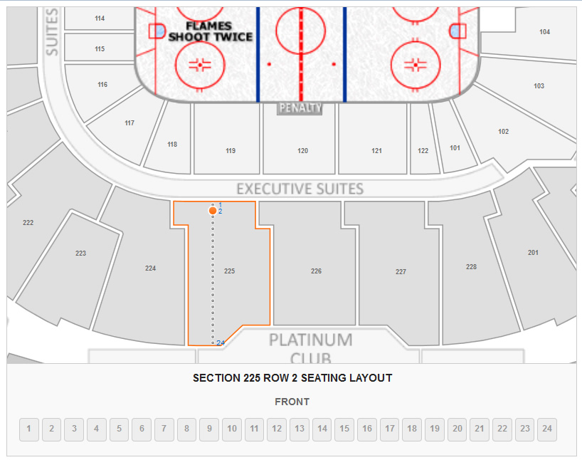 Section 225 Row 2 Seating Layout