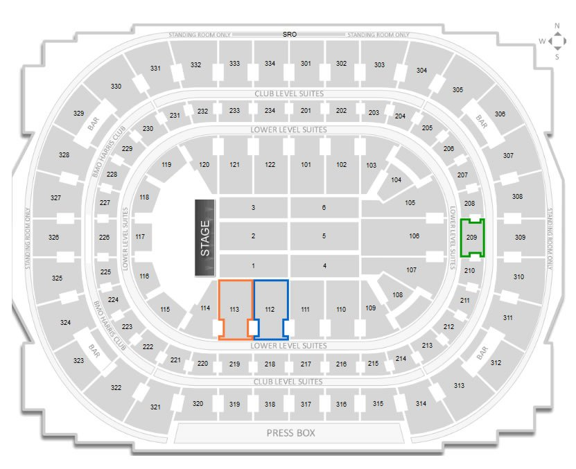 Seating Locations for Section 112, 113, and 209 at United Center