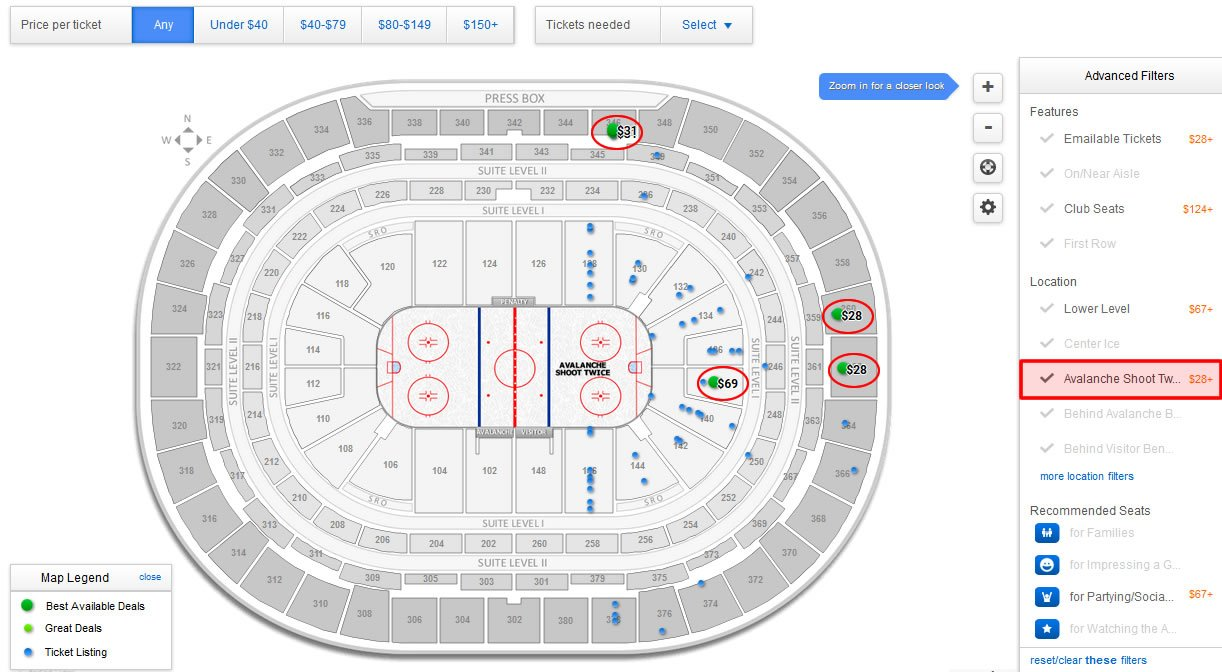 Colorado avalanche pepsi center seating chart rateyourseats com