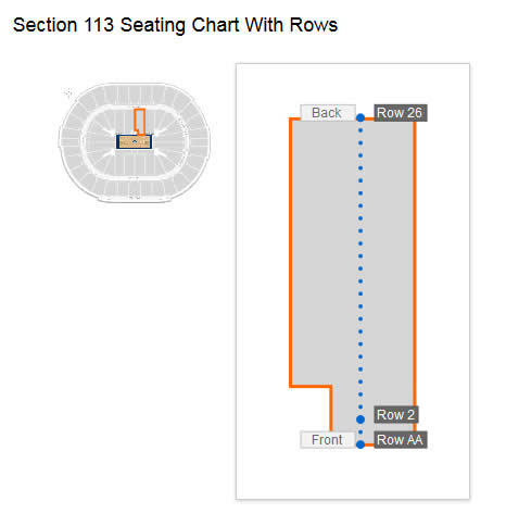 Seating row layout in Section 113 at Smoothie King Center