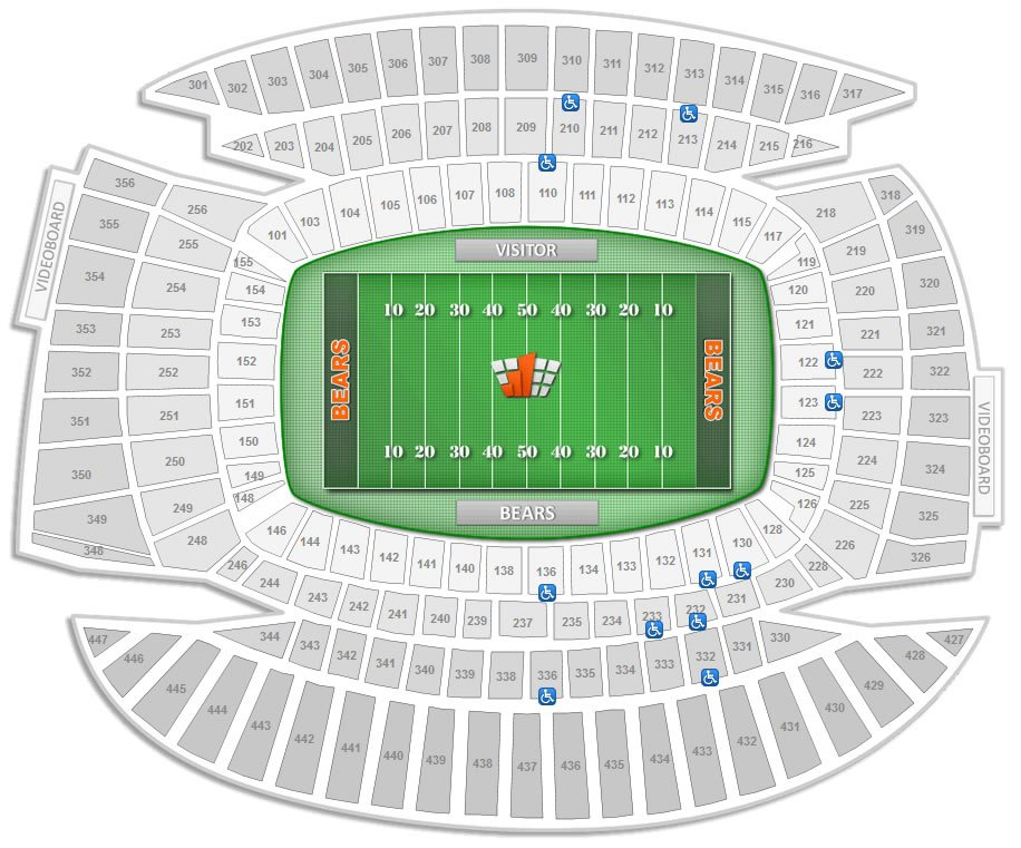 Chicago bears soldier field seating chart interactive map