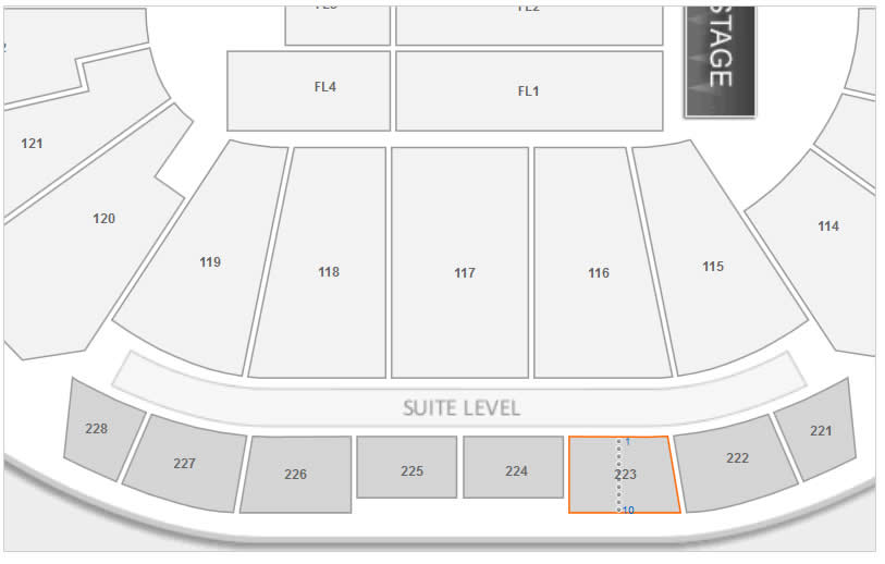 How Many Seats Are In Each Row Of Section 223 At Sprint Center