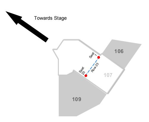 How Many Seats Does Section 107 Row 23 Have And Is The Lower Number Closer To Stage