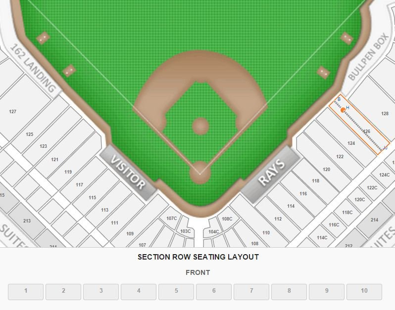 Tampa bay rays tropicana field seating chart interactive map