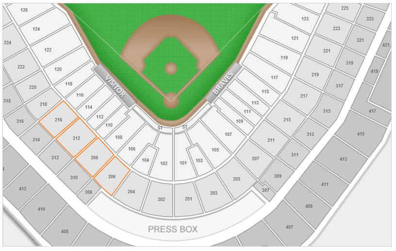Sections 206 through 216 at Turner Field