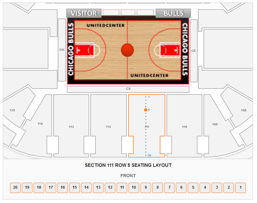 Seating Layout in Section 111 Row 5