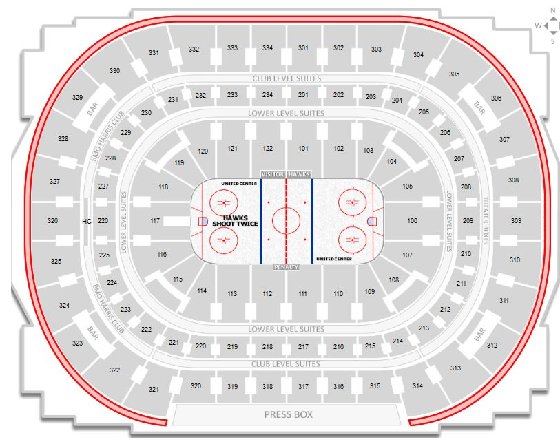 Chicago blackhawks united center seating chart rateyourseats com