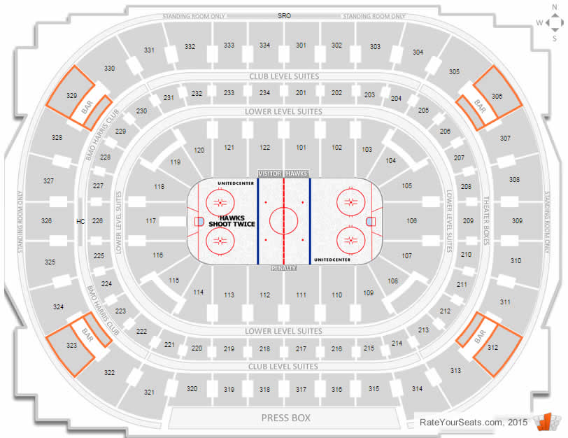 Where are the standing room only seats at a blackhawks game