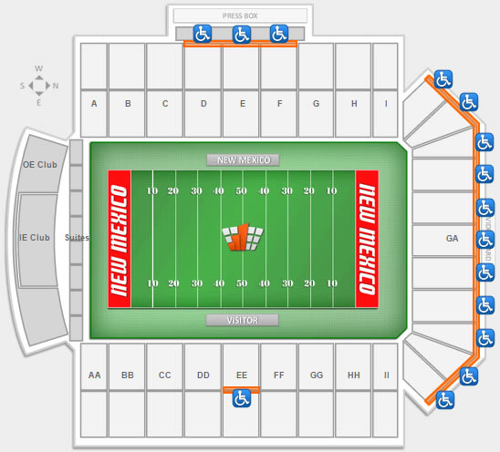 Handicap seating locations at University Stadium