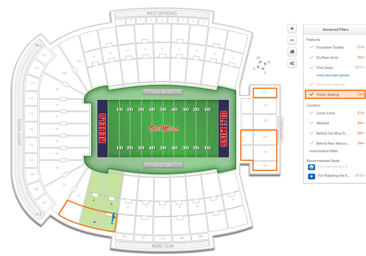 Visitor Seating at Vaught Hemingway Stadium