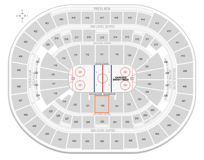 Where Is Seat 13 In Section 100 Row C At Verizon Center