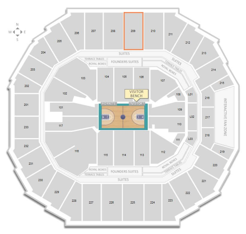 Section 209 Seating Location Versus Visitor Bench at Time Warner Cable Arena