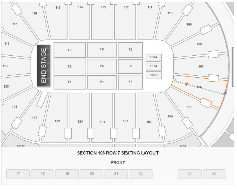 Seating Layout in Section 106 Row 7 at Wells Fargo Center