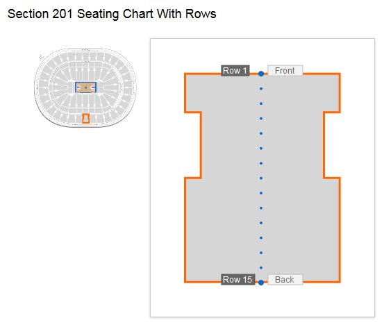 Seating Row Layout in Section 201 at Wells Fargo Center