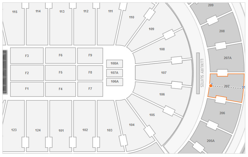 Section 207 Row 1 Location at Wells Fargo Center