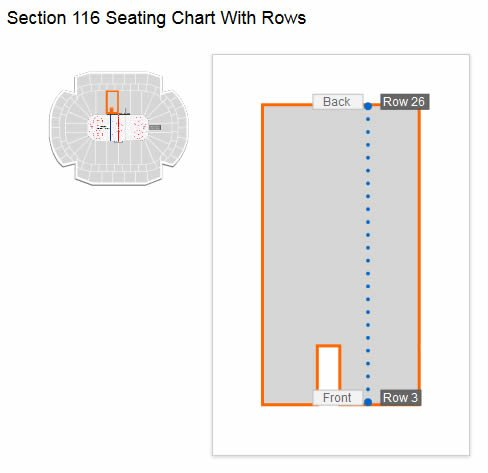 Seating Row Layout in Section 116 at Xcel Energy Center