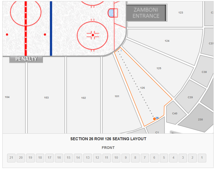 Seating Layout in Section 126 Row 26