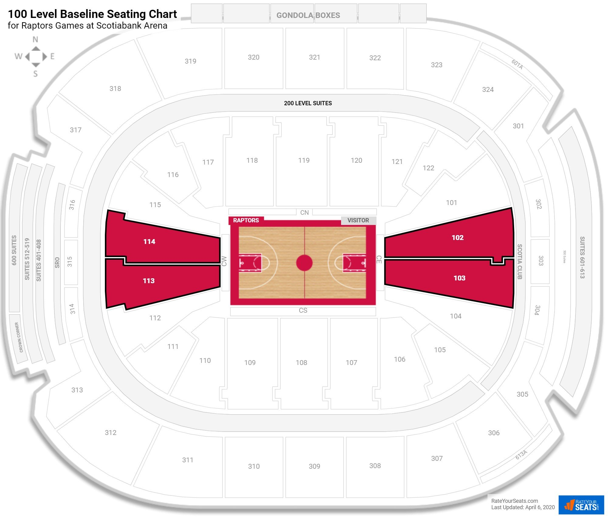 Air Canada Centre Lower Level Baseline seating chart