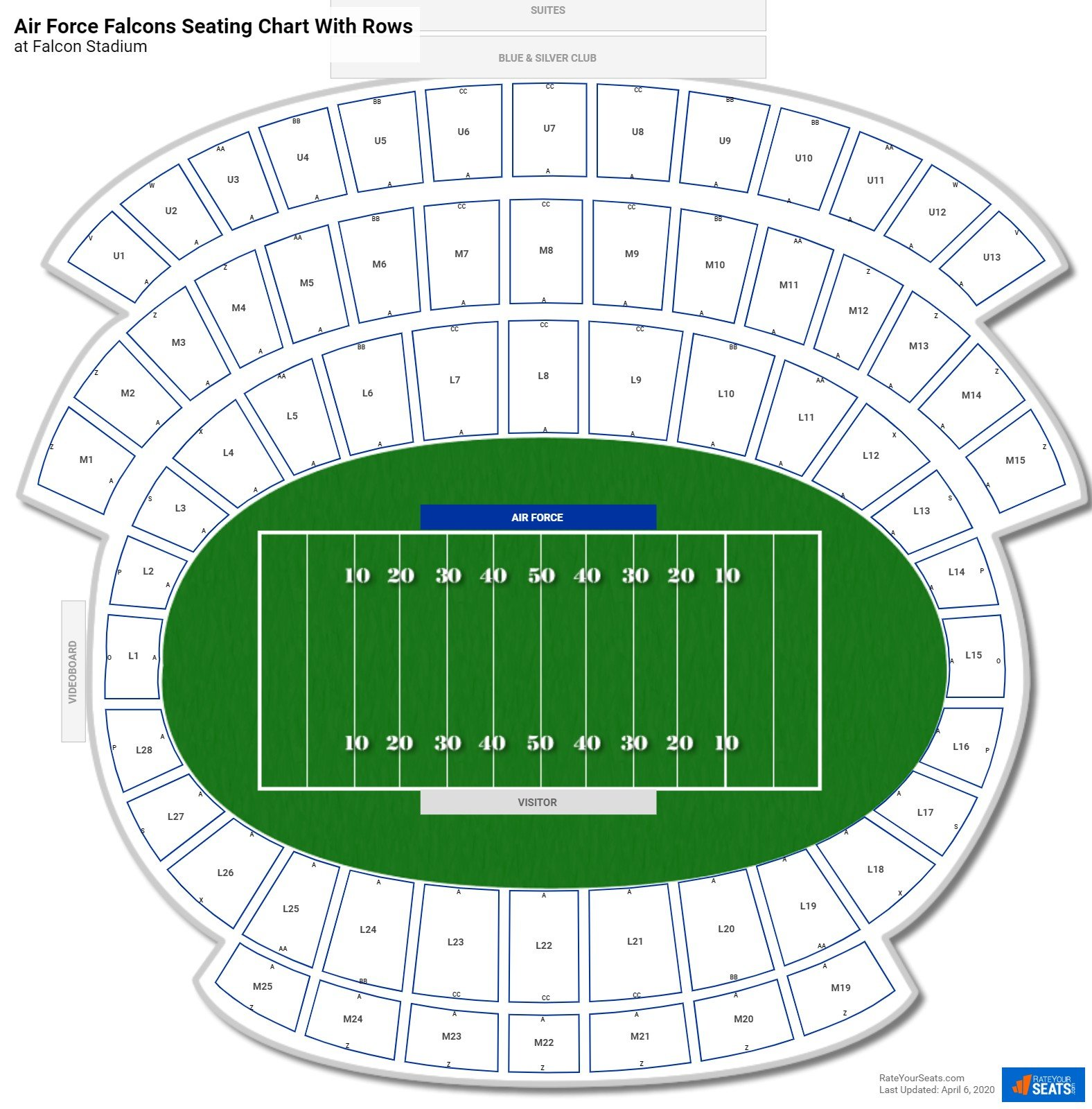 Falcon Stadium seating chart with rows