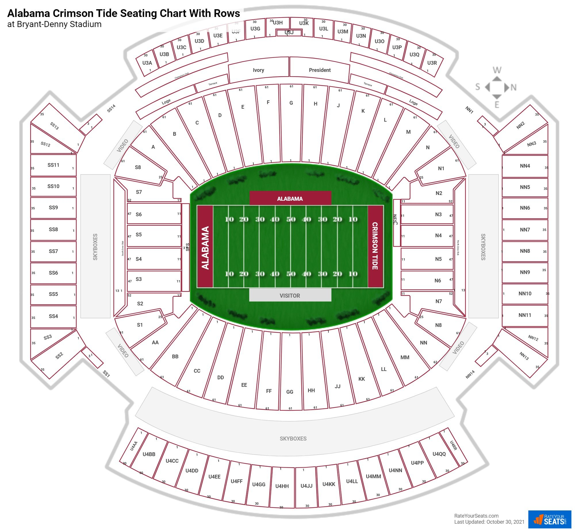 Bryant-Denny Stadium seating chart with rows