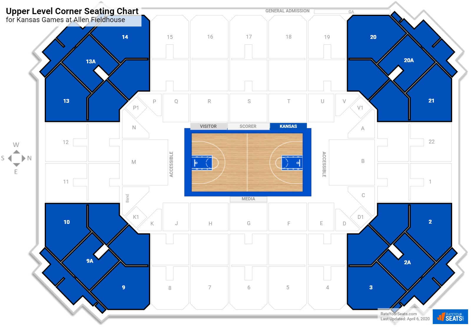 Allen Fieldhouse Upper Level Corner seating chart