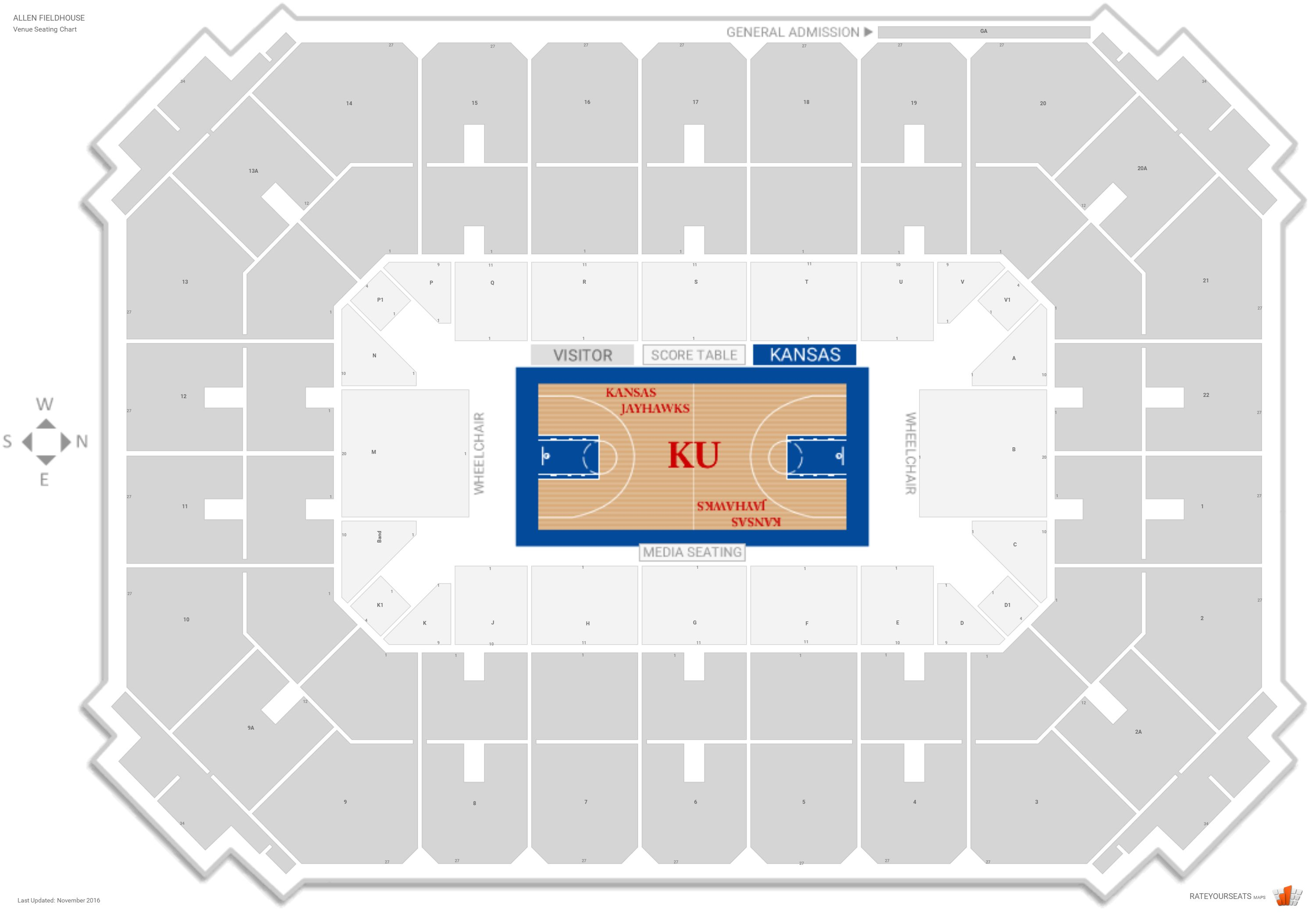 Allen fieldhouse kansas seating guide rateyourseats com