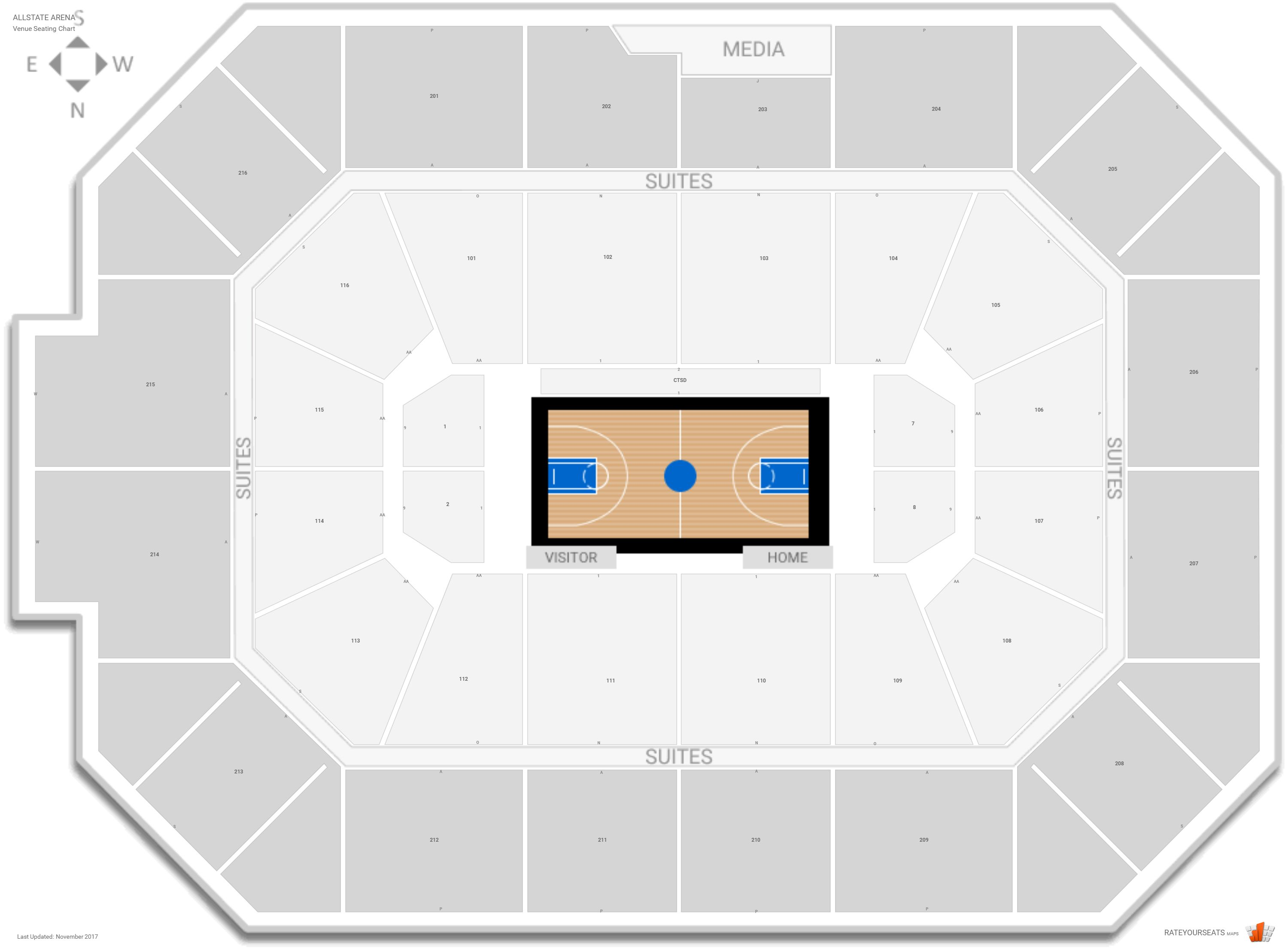 Allstate Arena Seating Chart with Row Numbers