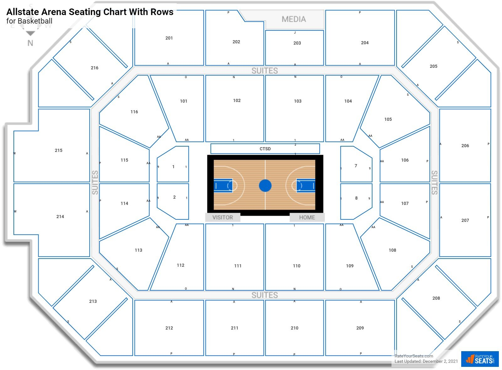 Allstate Arena seating chart with rows basketball