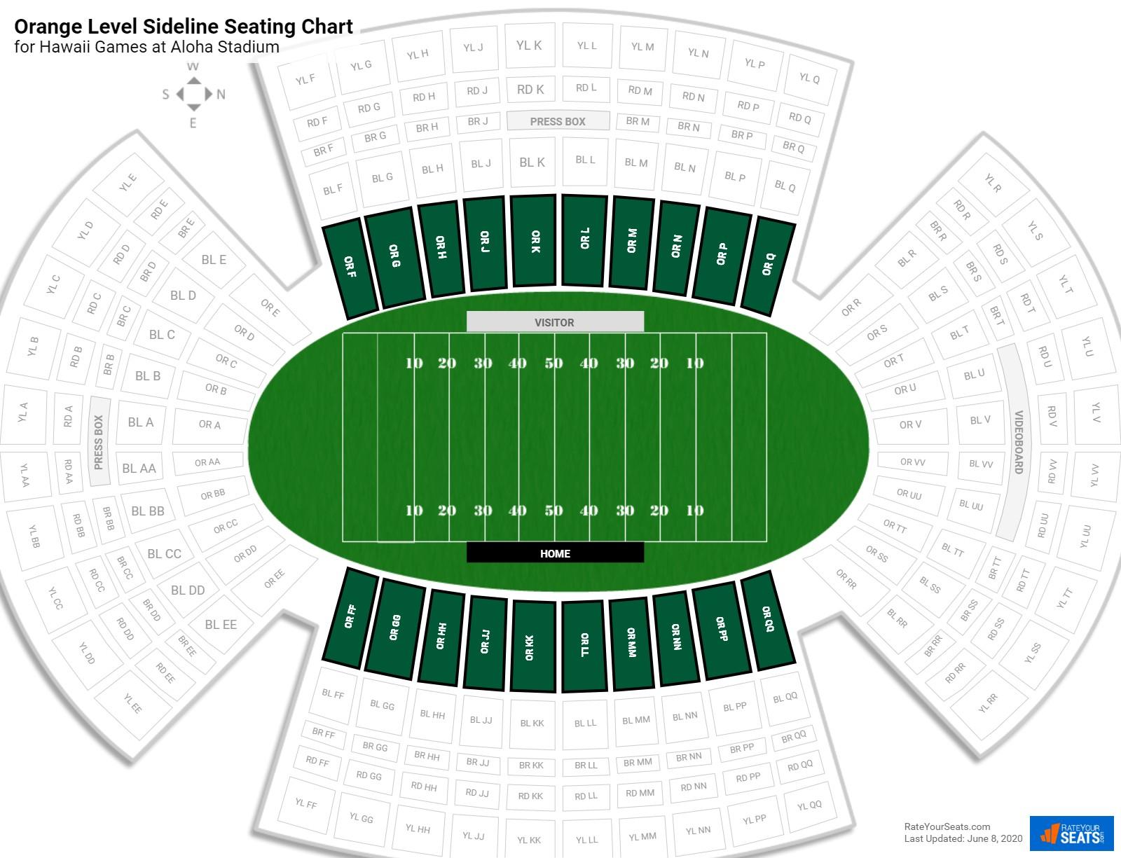 Aloha Stadium Orange Level Sideline - Football Seating ...