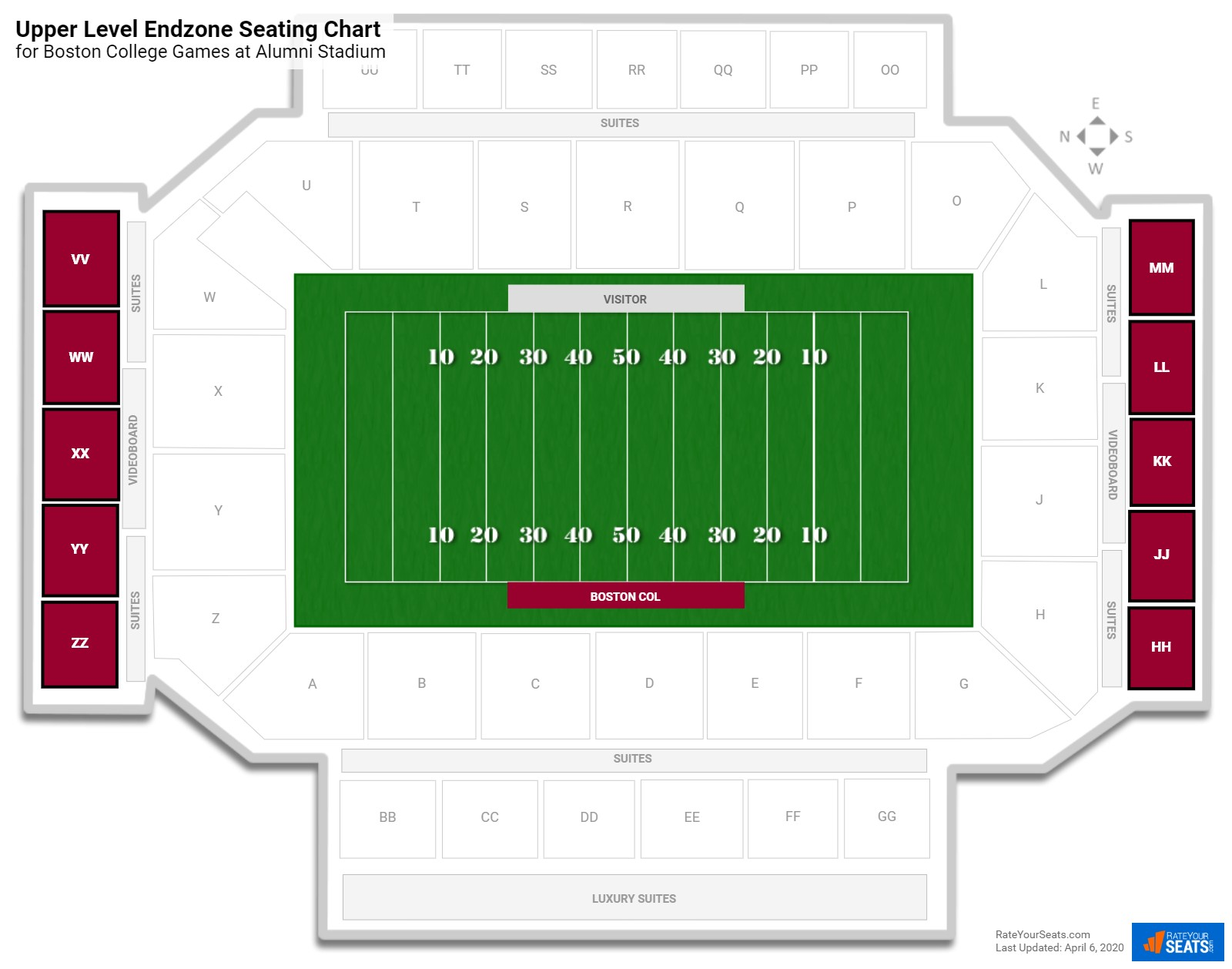 Alumni Stadium Upper Level Endzone seating chart